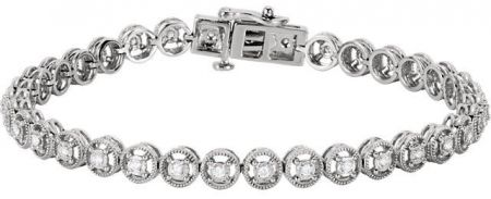 14k White Gold Art Deco Style Halo Link .50cttw Diamond Line Bracelet