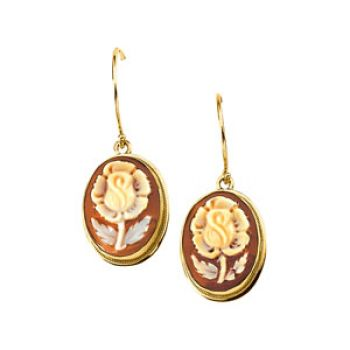 14k Yellow Gold Antique Style Rose Flower Cameo Earrings