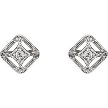 14k White Gold Art Deco Style .075cttw Diamond Filigree Stud Earrings