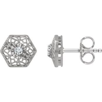 14k Antique Style Filigree Octagon Stud Earring Settings - 2mm Round Stones