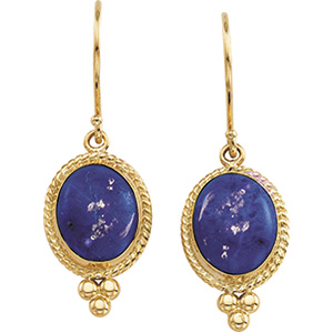 14k Yellow Gold Antique Style Lapis Cabochon Earrings