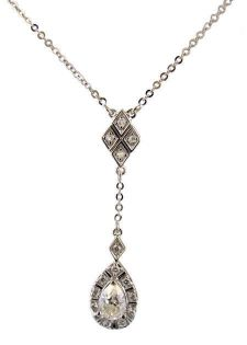 14k White Gold Art Deco Style .16cttw Diamond & Moissanite Drop Necklace