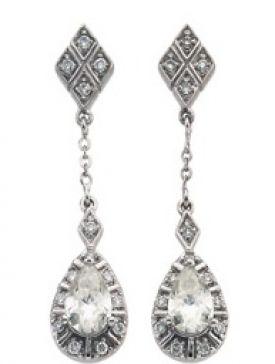 14k White Gold Art Deco Style .16cttw Diamond & Moissanite Drop Earrings