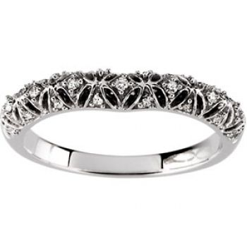 14k White Gold Vintage Style Filigree 3.0mm Curved .10cttw Diamond Wedding Band