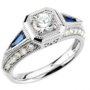 14k White Gold Art Deco Style Sapphire & Diamond 5.0mm Semi Mount Engagement Ring w/ .80cttw of Accents
