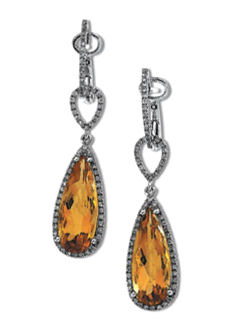 14k White Gold Vintage Style Citrine & .40 cttw Diamond Drop Earrings