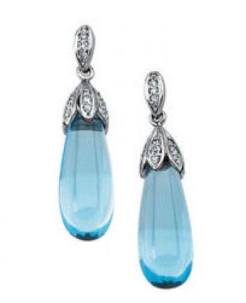 14k White Gold Vintage Style .37cttw Diamond & Swiss Blue Topaz Briolette Drop Earrings