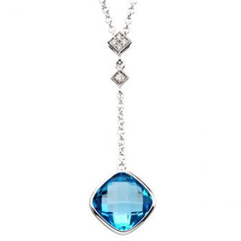 14k White Gold Vintage Style Swiss Blue Topaz & Diamond Lariat Necklace