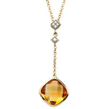 14k Yellow Gold Vintage Style Citrine & Diamond Lariat Necklace