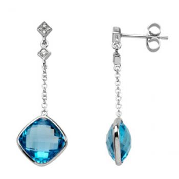 14k White Gold Vintage Style Blue Topaz & Diamond Drop Earrings