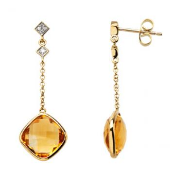 14k Yellow Gold Vintage Style Citrine & Diamond Drop Earrings