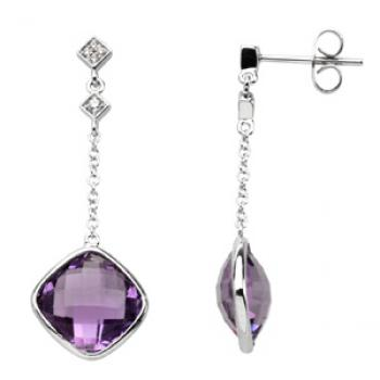14k White Gold Vintage Style Amethyst & Diamond Drop Earrings