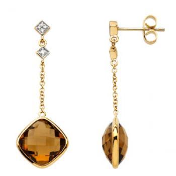 14k Yellow Gold Vintage Style Quartz & Diamond Drop Earrings