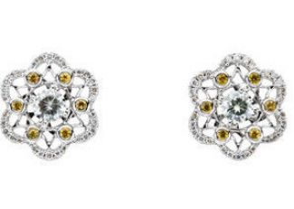14k White Gold Vintage Style Moissanite, Yellow Sapphire & .25cttw Diamond Earrings
