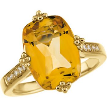 14k Yellow Gold Vintage Style 6.5ct Cushion Citrine & Diamond Ring