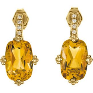 14k Yellow Gold Vintage Style Citrine & .06cttw Diamond Earrings