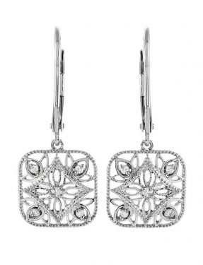 Antique Style Filigree .10cttw Diamond Dangle Earrings in Sterling Silver