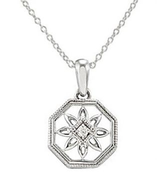 Antique Style Filigree .02ct Diamond Pendant in Sterling Silver