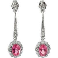 14k White Gold Art Deco Style Earring Settings with .13cttw Diamonds for 7x5mm Oval