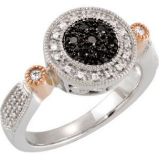 14k White & Rose Gold Art Deco Style .25cttw Black and White Pave' Diamond Ring
