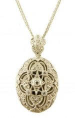 Art Deco Style Sterling Silver Cubic Zirconia Oval Locket Necklace