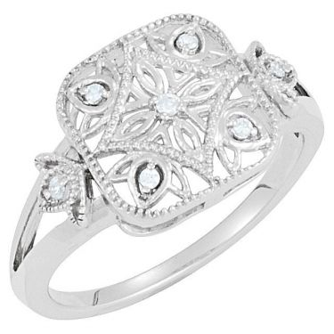 Antique Style Filigree .05cttw Diamond Ring in Sterling Silver