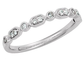 14k Vintage Style .16cttw Bead & Bezel Set Diamond Band