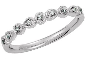 14k Vintage Style .04cttw Bead Set Diamond Band