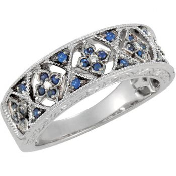 14k White Gold Art Deco Style Sapphire & .04cttw Diamond Anniversary Band