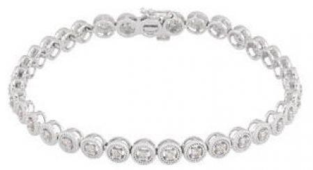 14k White Gold Art Deco Style Halo Link1.00cttw Diamond Line Bracelet