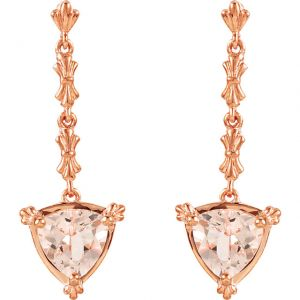 14k Rose Gold Vintage Style 2.0cttw Trillion Morganite Drop Earrings