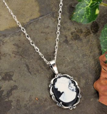 Sterling Silver Vintage Style Small Black Resin Cameo Pendant with Chain