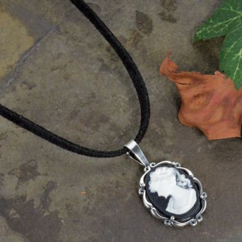 Sterling Silver Vintage Style Small Black Resin Cameo Pendant with Suede Cord