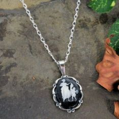 Sterling Silver Vintage Style Cupid Cameo Pendant with Chain