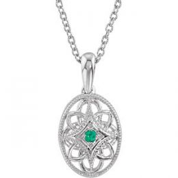 Vintage Style Sterling Silver Oval Filigree .03ct Gemstone Pendant & Chain