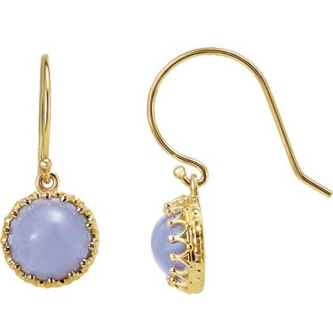14k Gold Crown Designed Round Earring Settings with Ear Wires