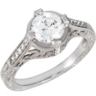 14k White Gold Vintage Style Engraved 1.00 Carat Semi Mount Engagement Ring w/ .13cttw Diamond Accents
