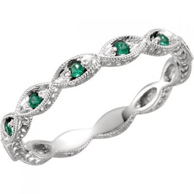 14k Art Deco Style .20cttw Emerald Eternity Band with Wheat Pattern