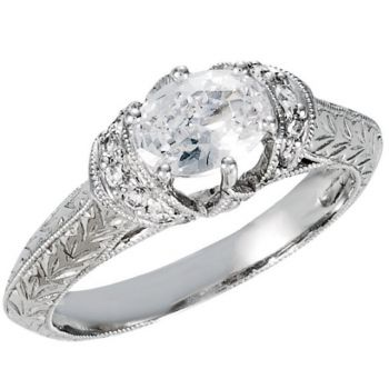 14k White Gold Wheat Engraved Vintage Style 1.00 Carat Oval Semi Mount Engagement Ring w/ .18 cttw Diamond Accents