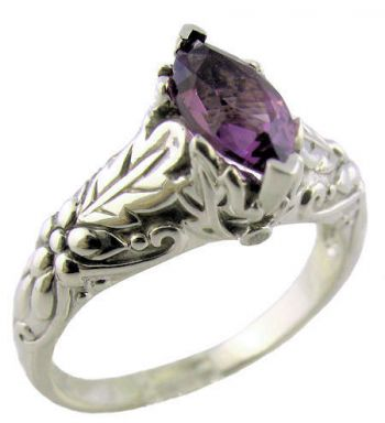 Vintage Style Sterling Silver Embossed 10x5mm Marquise Shaped Ring Setting