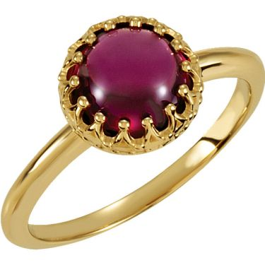 Crown Designed 8.0mm Round Cabochon Ring Setting - Antique Style