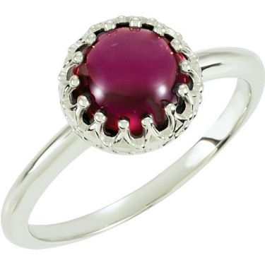 Crown Designed Round Cabochon Ring Setting in Sterling Silver