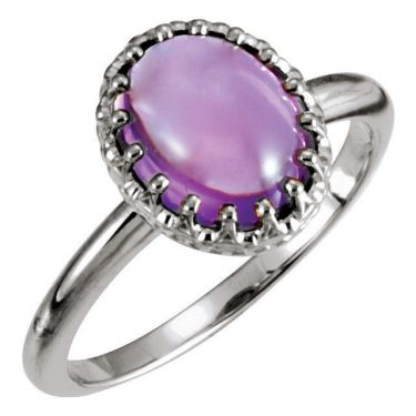 Crown Designed Oval Cabochon Ring Setting in Sterling Silver