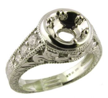 Art Deco Style Floral Filigree 6.5mm Round Shape .40cttw Diamond Semi Ring Setting