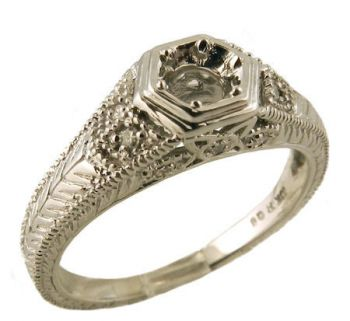 Art Deco Style Filigree 4.0mm Round Shape .10cttw Diamond Semi Ring Setting