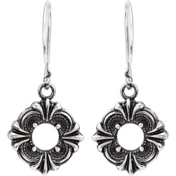 Victorian Style Sterling Silver Dangle Earring Settings - 6.0mm Round Stones