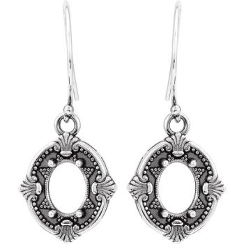 Victorian Style Sterling Silver Dangle Earring Settings - 8x6.0mm Oval Stones