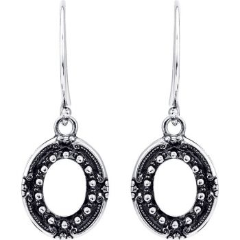 Victorian Style Sterling Silver Dangle Earring Settings - 9x7mm Oval Cabochons