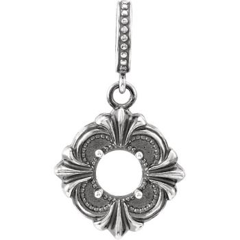Victorian Style Sterling Silver Pendant Setting - 6.0mm Round Stone