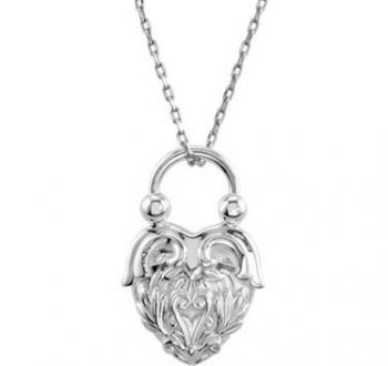 Victorian Style Sterling Silver Heart Design Pendant with Chain